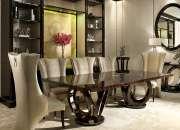 Majestuoso juego de comedor de 8 sillas tapizadas